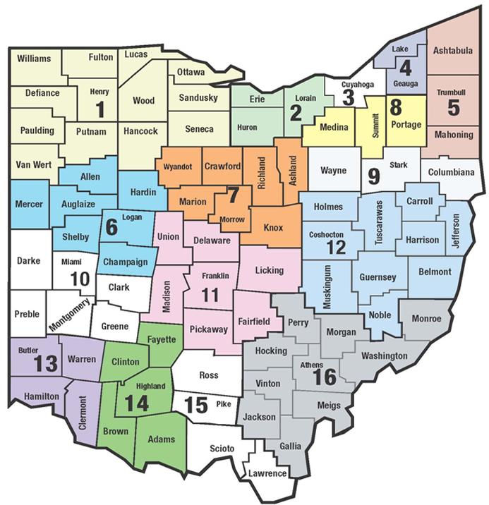Ohio map of 16 SST Regions