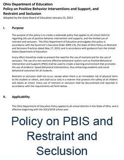 ohio policy on pbis and restraint and seclusion